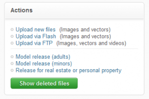 Кнопка Show deleted files на Fotolia.com