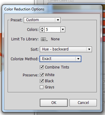 Окно Color Reduction Options_Oqno Color Reduction Options